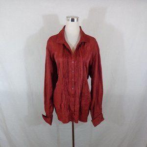 Coldwater Creek Red Metallic Sheen Shirt 3x